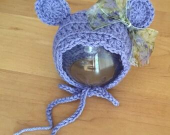 Newborn bear bonnet.. Photography prop.. Ready to ship.. Periwinkle.. Light purple hat