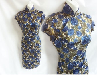 Vintage 50s Cheongsam Dress Size S Blue Green Chinese Brocade Mandarin Wiggle