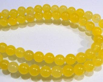 Yellow Jade Smooth Round Gemstone Beads.....6mm....12 Beads