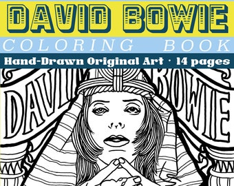 David Bowie memorial Coloring Book original hand drawn art byLB | instant download 14 pages 8.5x11 | adult COLORING book | Made by Lauren B