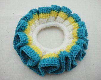 BUY 1 FREE 1 - Crochet Scrunchies - Yellow, Blue and White (SC5)
