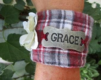 Grace Floral Red Plaid Flannel Cuff Bracelet// Upcycled// emmevielle