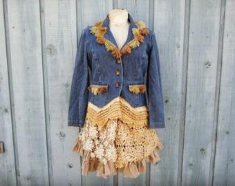 Medium Shabby Chic Upcycled Denim Jacket Coat Blazer// Crochet Lace// emmevielle