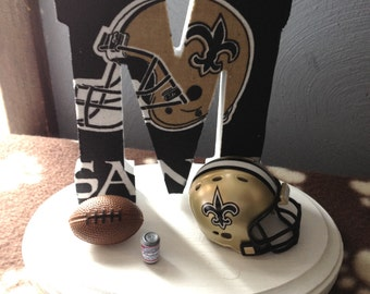 Wedding Cake Topper New Orleans Saints Bridal Football Themed Initial of the Last Name