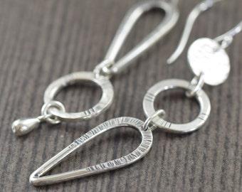Valentine's Day gift Silver Statement earrings sterling silver earrings Hammered long earrings