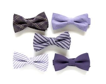Mismatched Purple Wedding Bow Ties - Dusty Purple Groomsmen Bowties - Custom Lavender Wedding Bow Ties - Groomsmen Bowties -