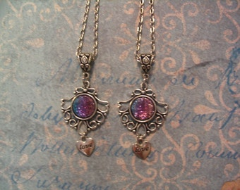 Sisters or Mother Daughter Love Purple Sparkle and Blue Cabochon Necklaces Jewelry Gift