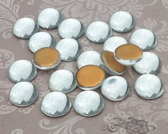 Vintage Cabochons - 13 mm Clear Crystal - 6 West German Glass Stones