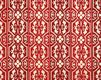1970s Retro Vintage Wallpaper Red Flocked on Metallic Gold by the Yard