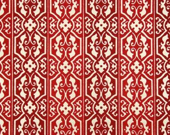 1970's Retro Vintage Wallpaper Red Flocked on Metallic Gold