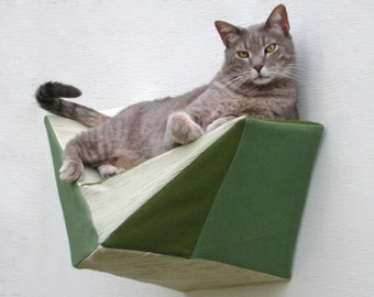 Cat shelf wall bed in olive, sage & ecru
