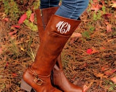 Monogrammed Riding Boots, Dark Chestnut, Monogrammed Boots, Personalized Riding Boots, Personalized Gift, Gift for Her, Christmas Gift