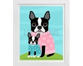 102D - Dog Wall Art - Boston Terrier Dog and Puppy in Sweaters Wall Art - Boston Terrier Print - Boston Terrier Art - Funny Dog Drawing
