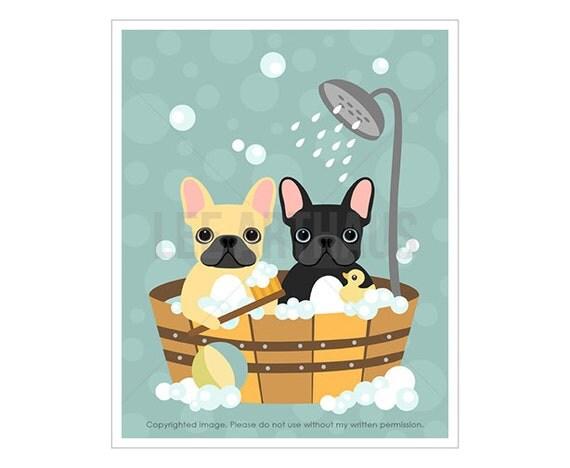 48F Dog Artwork - Two French Bulldogs in Wooden Bathtub Wall Art - Frenchie Print - Black French Bulldog Print - Funny Bath Wall Decor