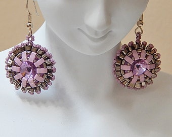 Sparkly Wheel (Antique Pink) Earrings