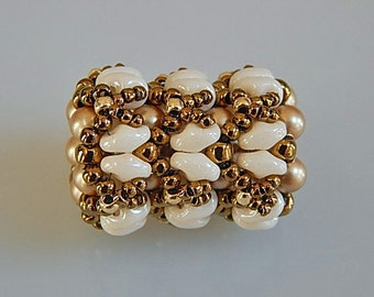 Bronze and Ivory Superduo and Pearls Beaded Bead