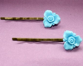 Baby Blue Flower Bobby Pins - Acrylic Floral Cabochon Hair Pins