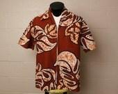 Vintage 1960's Malihini Brown Barkcloth Barcloth Cotton Mens' Shirt L