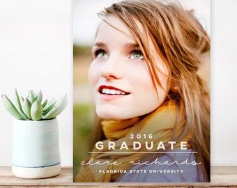 Graduation Announcement, College Graduation Announcement, High School Graduation, Senior Graduation Announcement, Modern printable