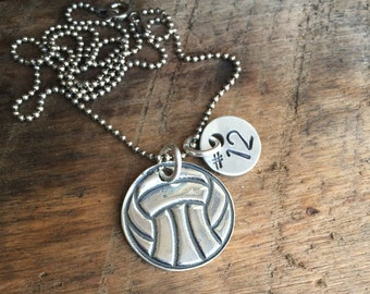 Sterling Silver Water Polo - Volleyball Necklace with Hand Stamped Number or Initial *On Sale*