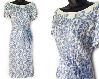 50s 60s Ivory and Blue Lace Wiggle Dress S M