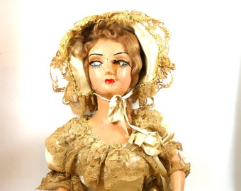 20s Zombie French boudoir doll in beige satin dress with hat, shabby chic fun.