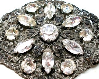 XL Rhinestone brooch, Victorian Lacy metal reproduction.