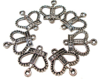 7 Silver CROWN charms, Set of seven connectors.