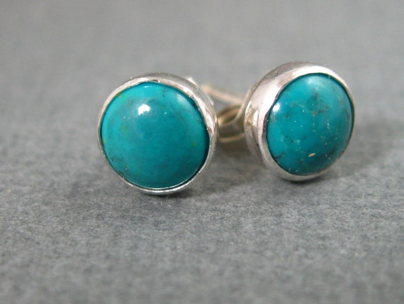 Turquoise Round Post Earrings in Sterling Silver