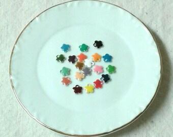 6 mm Assorted Enamel Flower Dangles/Beads - Set of 24