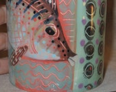 Marvellous Saturated Color On Hand Painted Ceramic Fish Mug