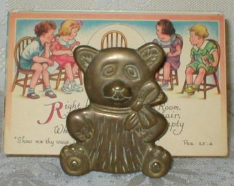 Brass Teddy Bear Bookends Bookholder Mail Postcard Holder Business Card Desk Display Vintage Home Decor
