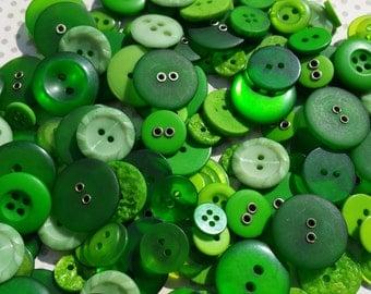 Green Buttons - Sewing Bulk Button Assorted Round - 100 Buttons - Emerald