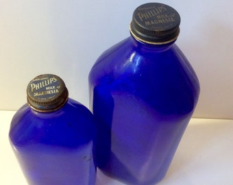 VTG Set of 2 Milk of Magnesia Bottles // Cobalt Blue // Genuine Phillips