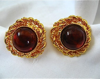 Vintage Amber and Gold Earrings