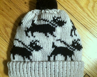 Dog lovers hat, walking black scottish terrier, pom pom, handmade adult hat, made in USA, gift for dog owner