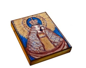 Our Lady of el Cobre in Gold - Giclee print mounted on Wood (5 x 7 inches) Folk Art  by FLOR LARIOS