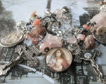 Love is all around me Rose and Strawberry Silver Charm bracelet Vintage medals