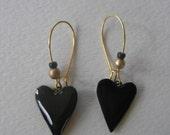 Signed Stephen Dalton Half Baked Ideas Black Gold Heart Earrings Kidney Wires