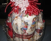 Custom Cowboy Baby Gift Basket With Quilt, Burp Cloth, Wash Cloths, Stork Bag With Diapers