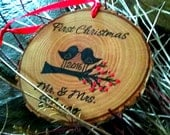 FIRST CHRISTMAS ORNAMENT Married Mr and Mrs Ornament Personalized Our First Christmas as Mr and Mrs Ornament Rustic Mr and Mrs Ornament