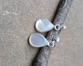 Bezelled Mother of Pearl Gemstone on Sterling Earwire Posts