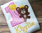Teddy Bear Picnic Birthday Shirt - Pink and Yellow