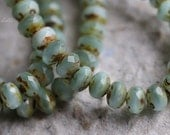 BABY BLUE BITS No. 2 .. New 30 Premium Picasso Czech Rondelle Glass Beads 3x5mm (5448-st)
