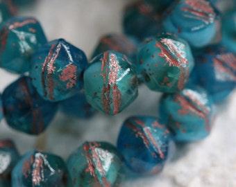 AQUA TEAL NUGGETS .. 20 Picasso Czech Glass English Cut Beads 8mm (5436-st)