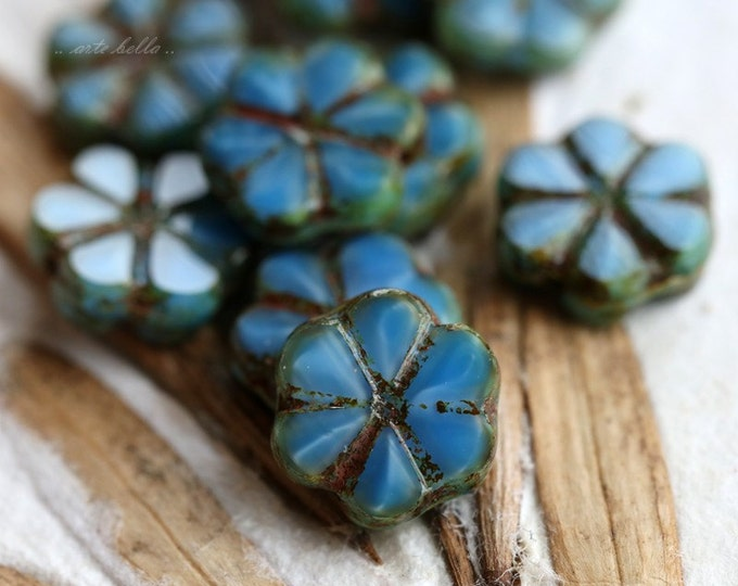 BLUE SILK BLOOMS .. 10 Picasso Czech Flower Glass Beads 10x3mm (5280-10)