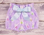 Baby Girl Clothes, Toddler Girl Clothes High Waist Bloomers in Bunny Hop Easter by Charming Necessities, Boutique Clothing