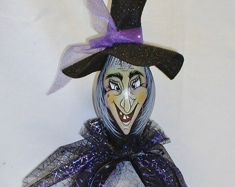 Halloween Witch Gourd - Hand Painted Gourd