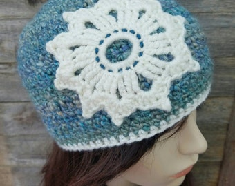 Women's Beanie, Women's Winter Hat, Mandala Hat, Mandala Beanie, Flower Beanie, Snowflake Beanie, Blue Hat, Blue Winter Hat, MADE TO ORDER