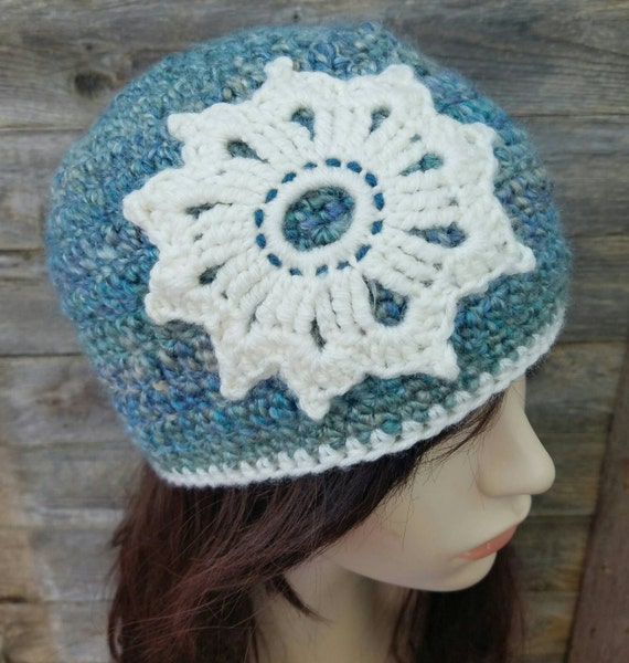 Women's Beanie, Women's Winter Hat, Mandala Hat, Mandala Beanie, Flower Beanie, Snowflake Beanie, Blue Hat, Blue Winter Hat, MADE TO ORDER